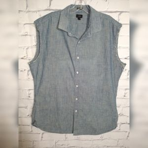 J Crew sleeveless shirt denim style size XL